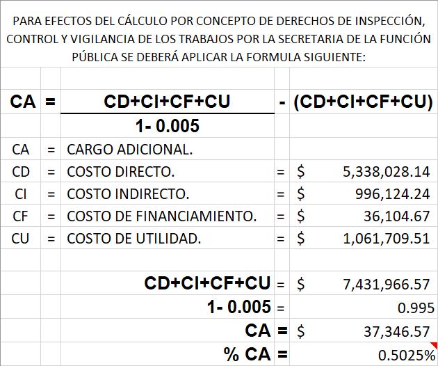 Análisis de precios unitarios ejemplo de cálculo de cargos adicionales 5 al millar